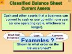 classified balance sheet current assets