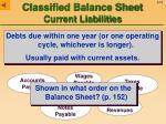 classified balance sheet current liabilities