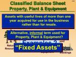 classified balance sheet property plant equipment