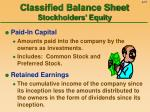classified balance sheet stockholders equity
