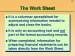 the work sheet