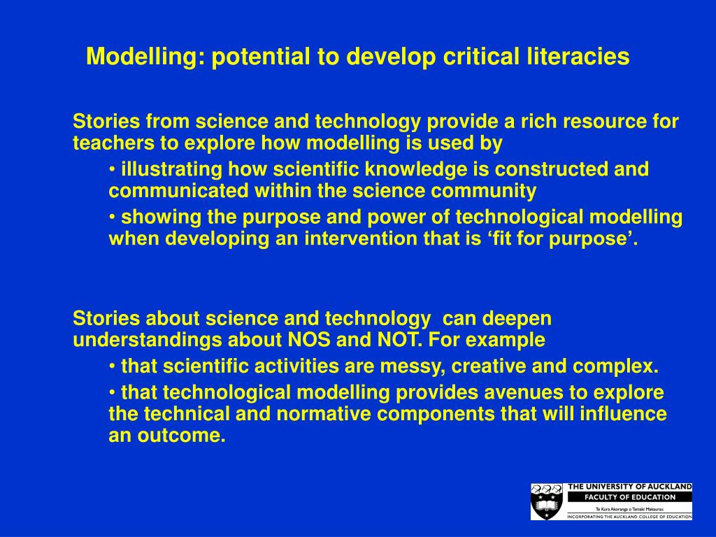 Modelling: potential to develop critical literacies