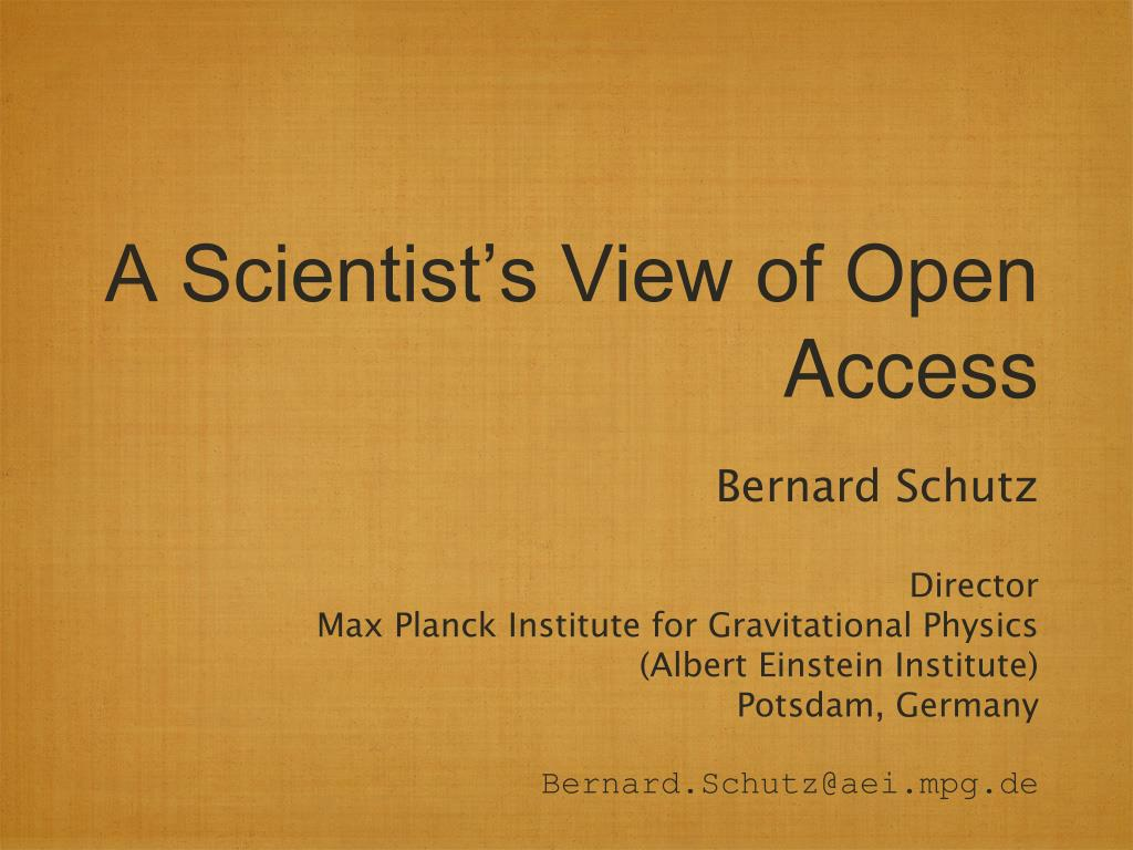 a scientist s view of open access l.