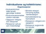 individualisme og kollektivisme organisasjoner