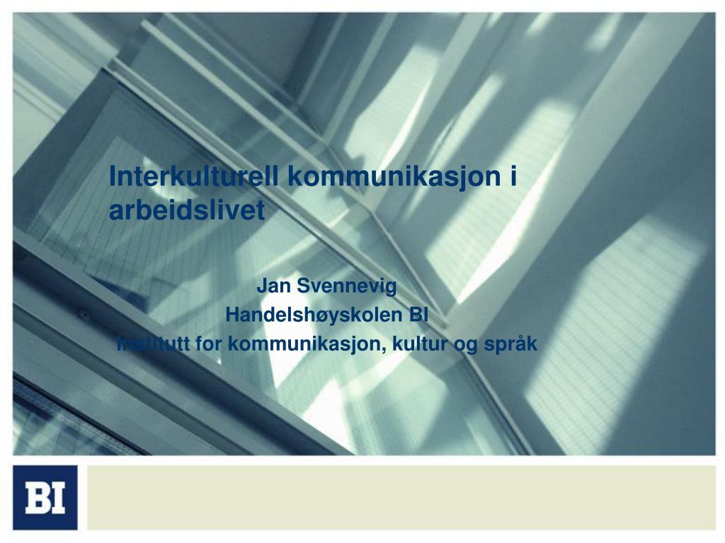 interkulturell kommunikasjon i arbeidslivet l.