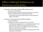 effect of weight balance on performance stability46