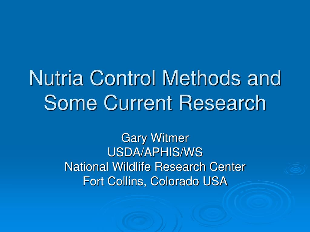 nutria control methods and some current research l.