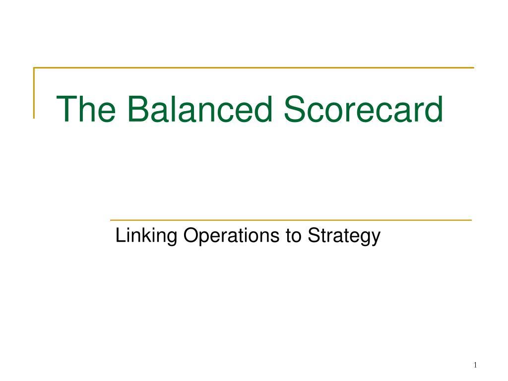 the balanced scorecard l.
