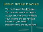 balance 10 things to consider