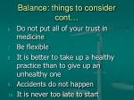 balance things to consider cont