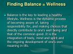 finding balance wellness