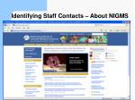 identifying staff contacts about nigms