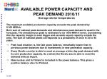 available power capacity and peak demand 2010 11 average winter temperatures