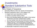 investments standard substantive tests16