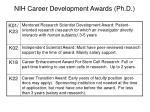 nih career development awards ph d