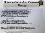 science curriculum overview format