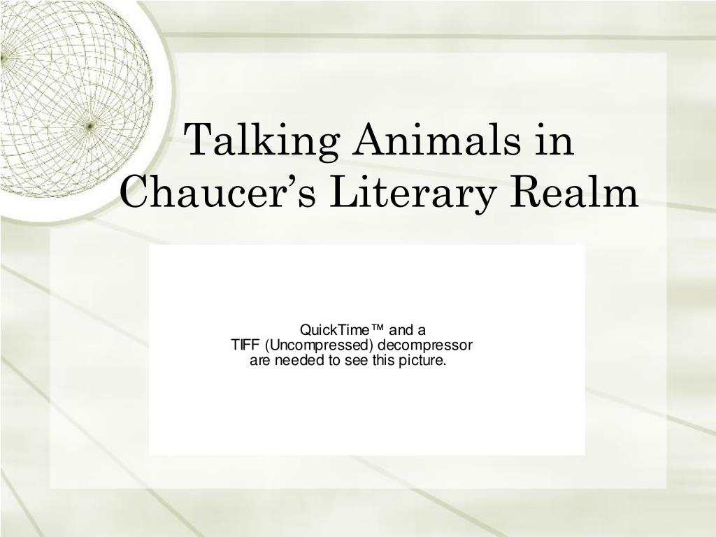 talking animals in chaucer s literary realm l.