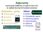 adjuvants purchased additives to add to tank mix or added during formulation process