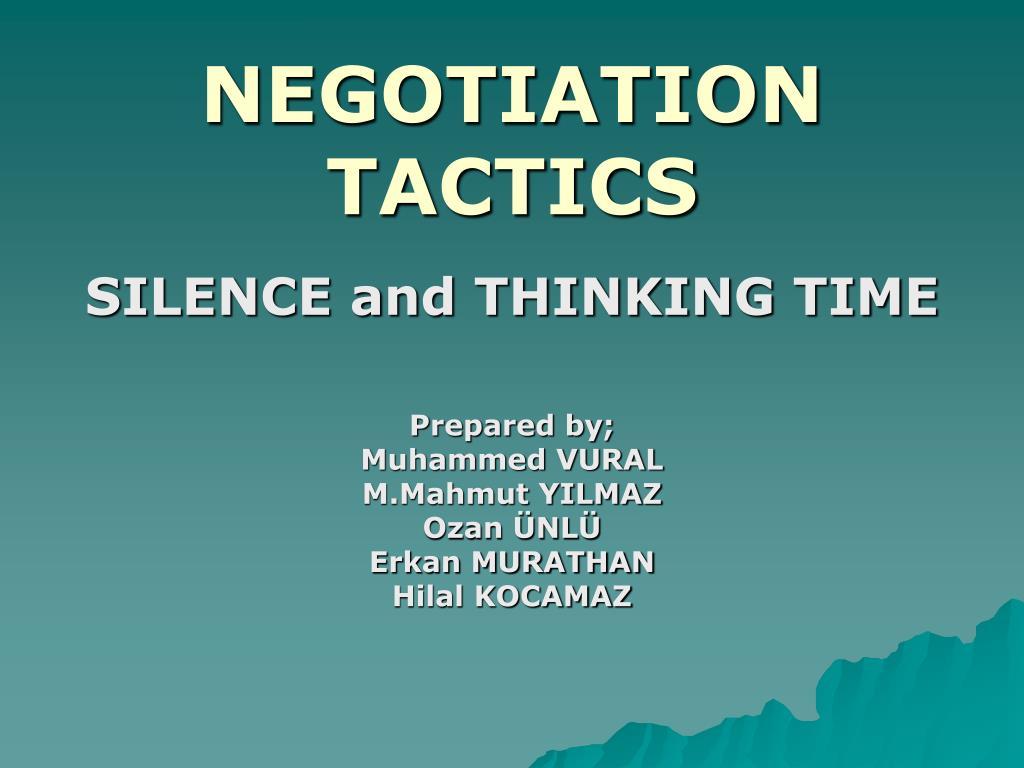 negotiation tactics l.