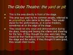the globe theatre the yard or pit