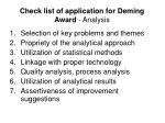 check list of application for deming award analysis
