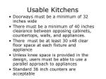 usable kitchens