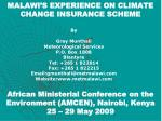 malawi s experience on climate change insurance scheme