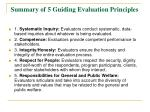 summary of 5 guiding evaluation principles