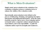 what is meta evaluation