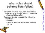 what rules should bulleted lists follow