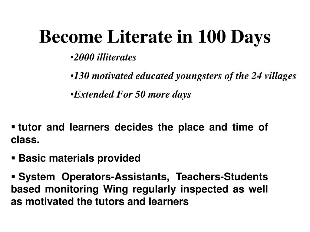 Become Literate in 100 Days