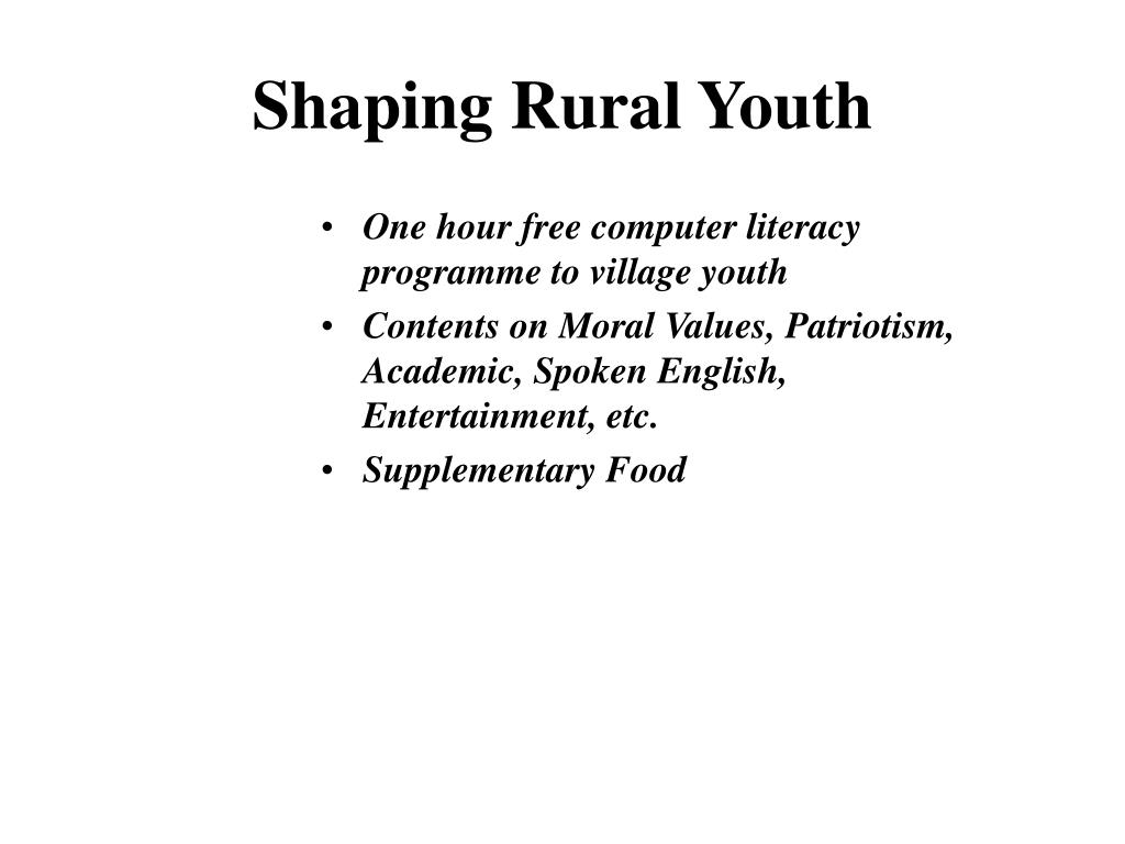 Shaping Rural Youth