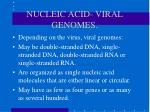 nucleic acid viral genomes