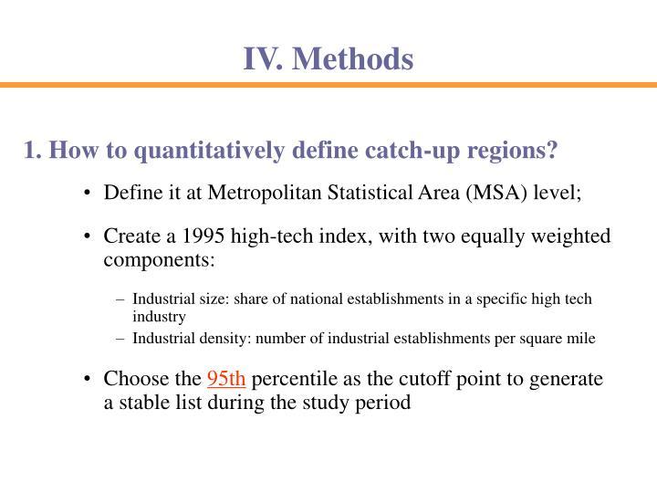 Define it at Metropolitan Statistical Area (MSA) level;