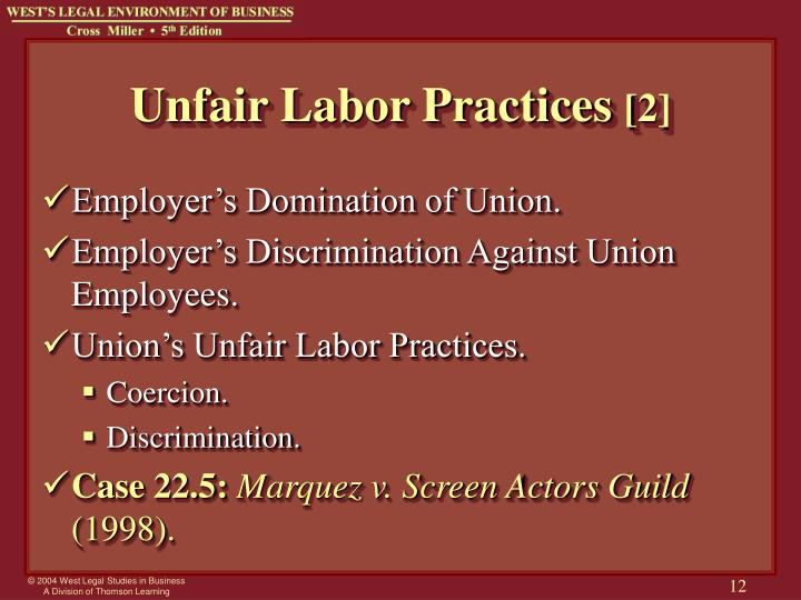 what are the five unfair employer labor practices that the wagner act deemed unfair and considered s It shall be an unfair labor practice for an employer- (1) to interfere with, restrain, or coerce employees in the exercise of the rights guaranteed in section 7.