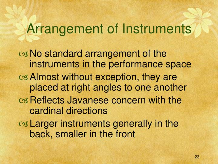 Arrangement of Instruments