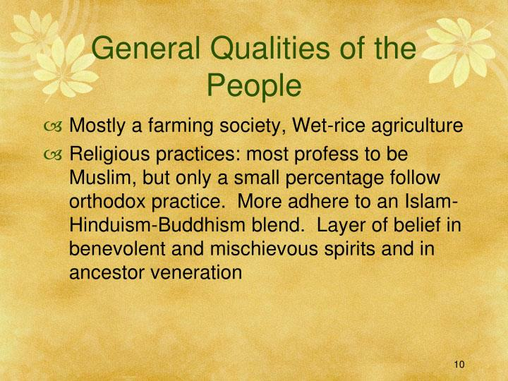 General Qualities of the People