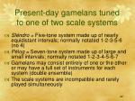present day gamelans tuned to one of two scale systems
