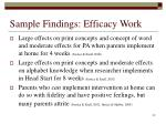 sample findings efficacy work