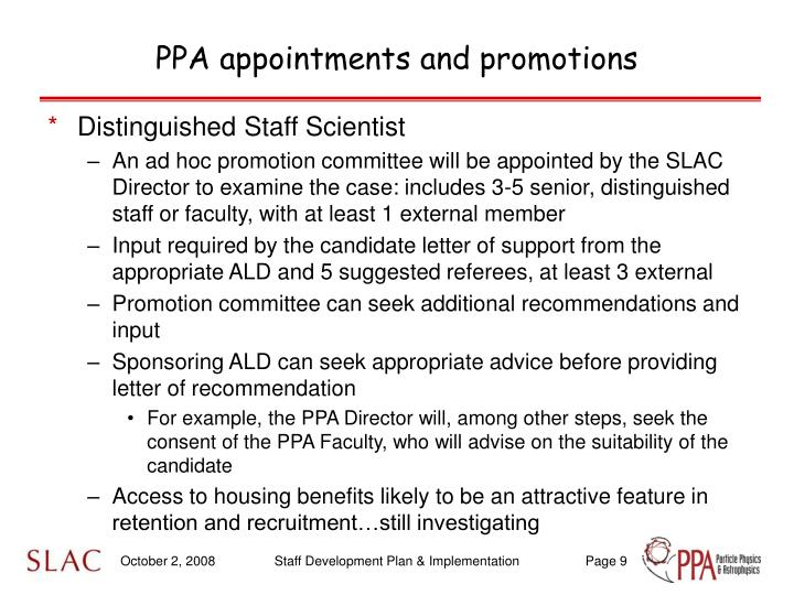 PPA appointments and promotions