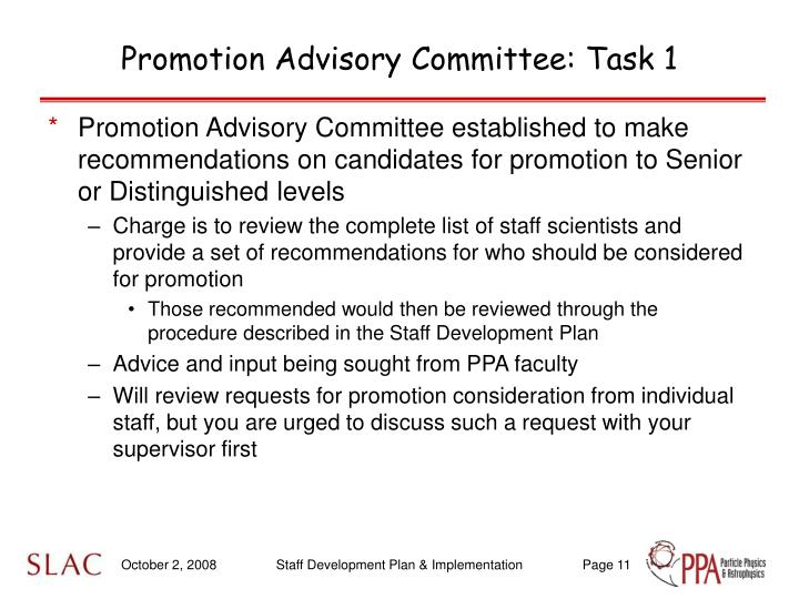 Promotion Advisory Committee: Task 1