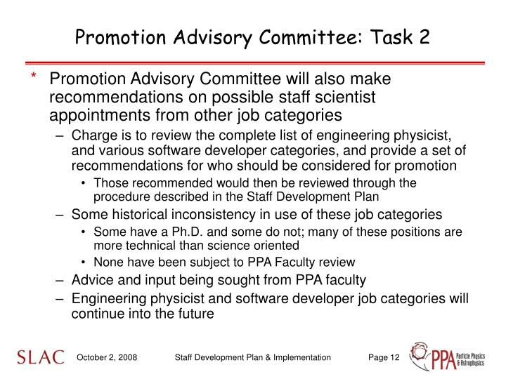 Promotion Advisory Committee: Task 2