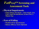 f all p roof tm screening and assessment tools4