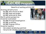 benefits of working with globe
