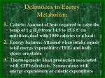 definitions in energy metabolism