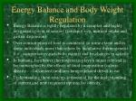 energy balance and body weight regulation