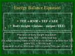 energy balance equation