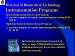 division of biomedical technology instrumentation programs