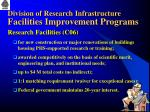 division of research infrastructure facilities improvement programs