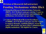division of research infrastructure funding mechanisms within idea